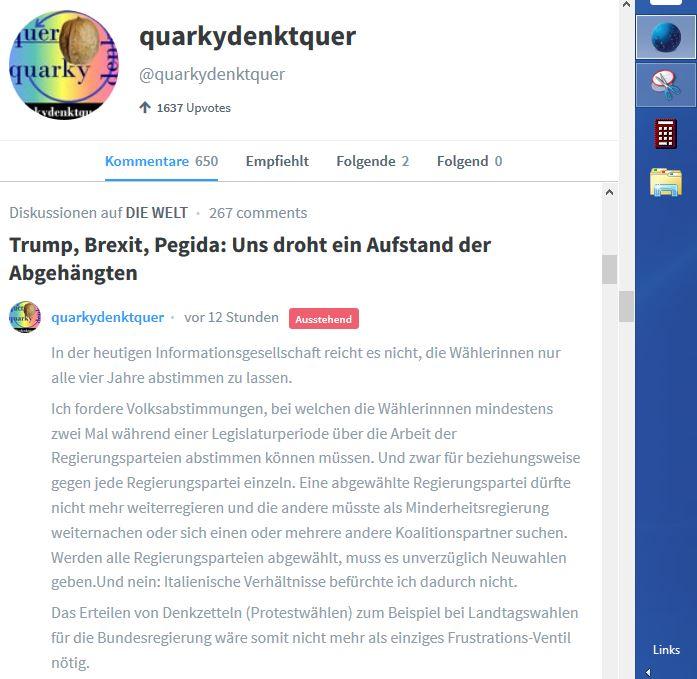 24-7-16 Teil 1 Alan Poseners verschwurbelter Text nicht veroeffentlicht nach 12 Stunden Wahlrechtsaenderungswuensche