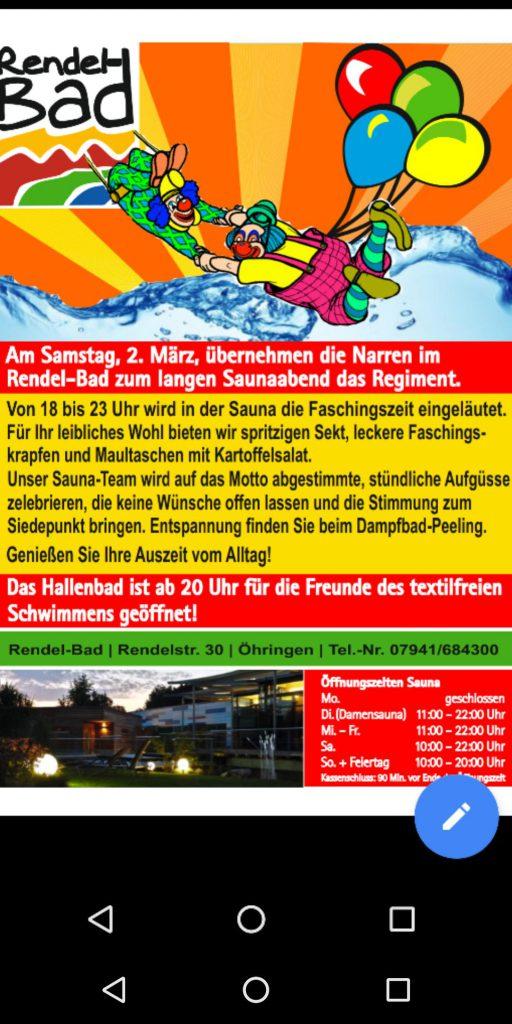 Textilfreies Schwimmen im Hallenbad Öhringen: Rendelbad.
